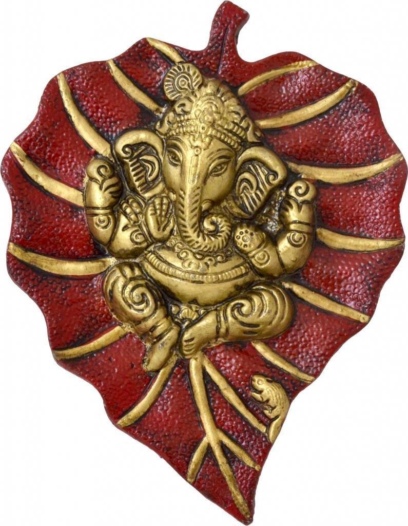 Metal Patta Ganesh Wall Hanging Multicolour Showpiece Figurine (Red)