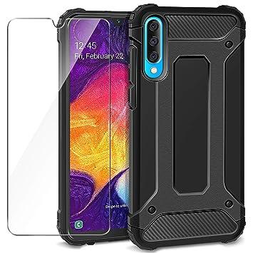 AROYI Funda Samsung Galaxy A50 + Protectores de Pantalla in Cristal Templado, Robusta Carcasa Híbrida TPU+PC de Doble Capa Anti-arañazos Caso para ...