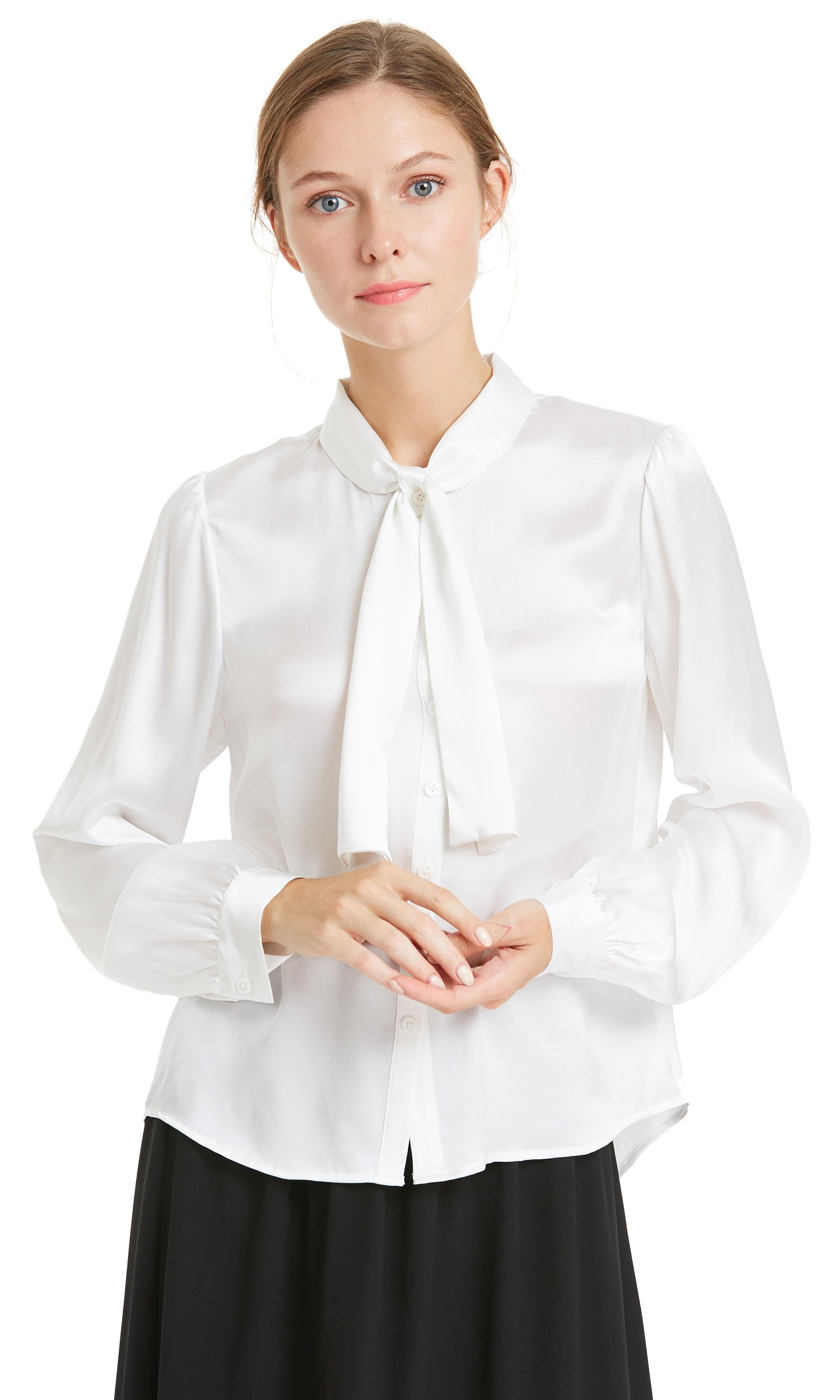 LILYSILK Silk Shirt for Women 22MM Bowknot Tie Collar Long Sleeve Mulberry Ladies Tops White M/8-10 by LilySilk