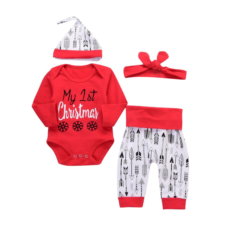 4019b6efa Amazon.com: 4Pcs Christmas Baby Boy Girls Long Sleeve Snow Romper  Bodysuit+Arrow Pant+Hat+Headband Clothes: Clothing