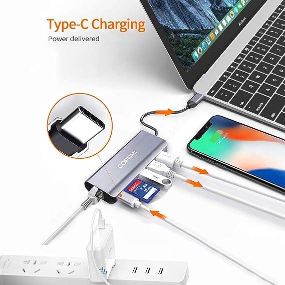 Amazon.com: USB C Hub, CORNMI 6 en 1 tipo C adaptador con ...