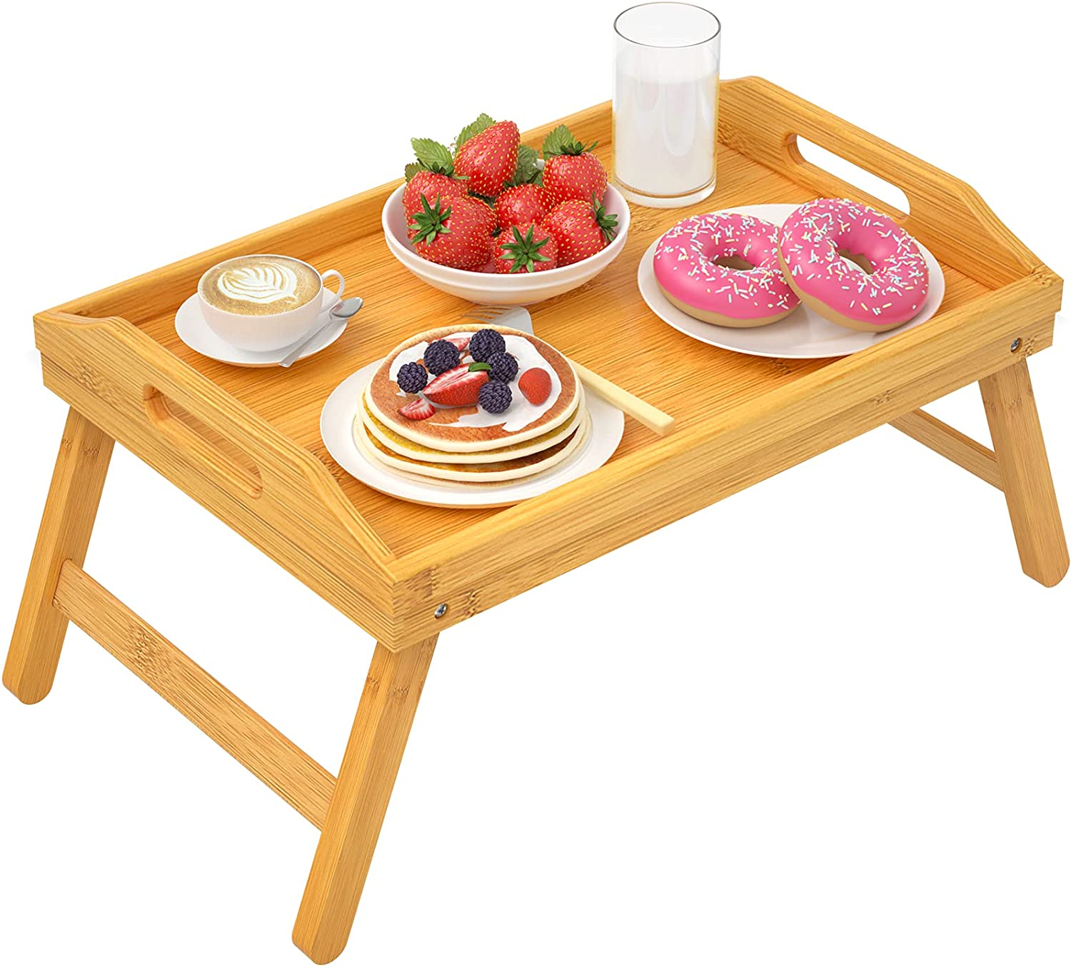 Bamboo Bed Tray Breakfast Food Tray Serving Platters Tray with Handles Folding Legs for Eating, Reading, Working, Drawing Foldable Wood Table by STOREMIC