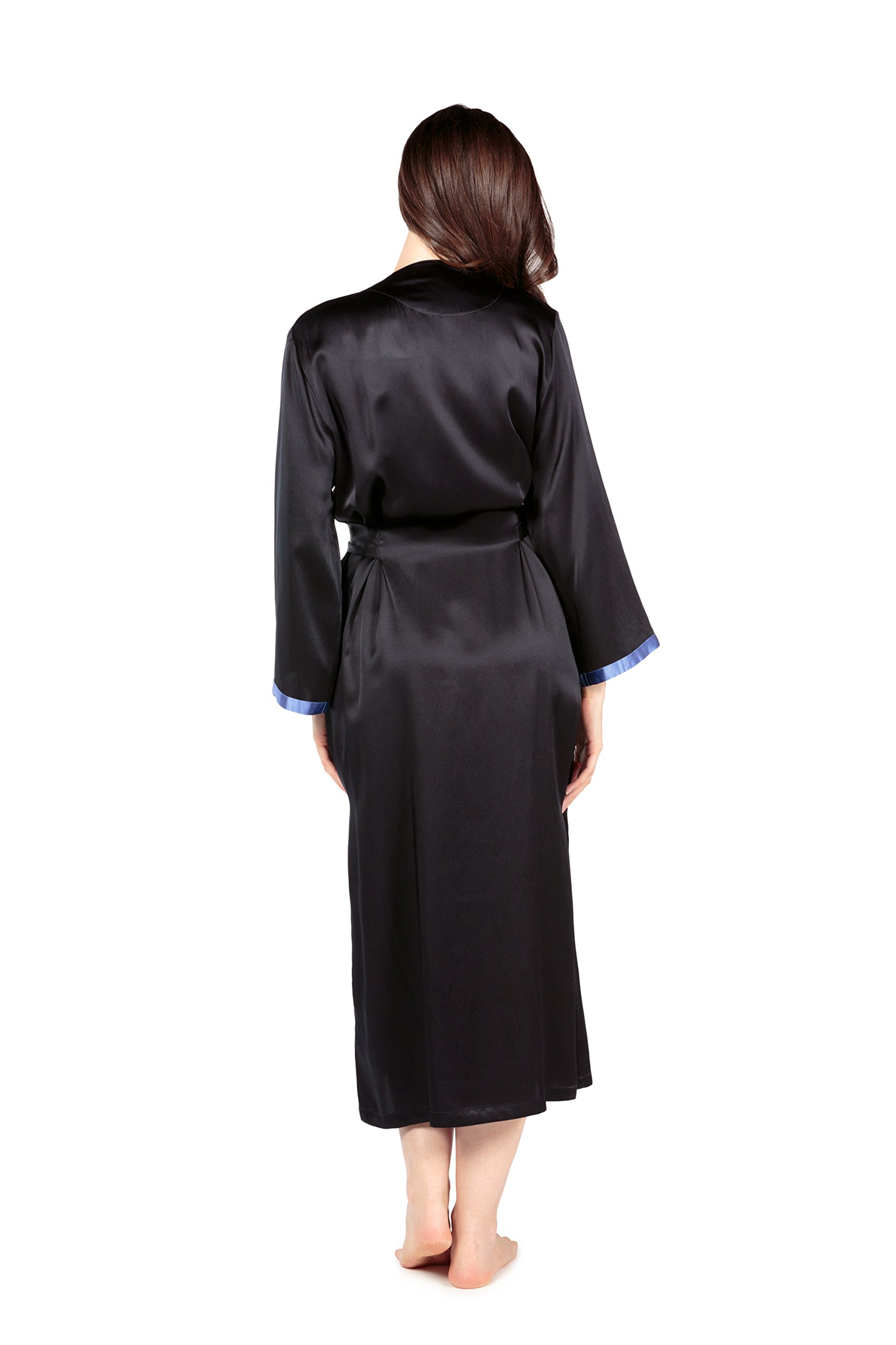 Women's Luxury Long Silk Bathrobe - Sleepwear Robe by TexereSilk (Beautibliss, Black, Large/X-Large) Popular Gifts for Women WS0102-BLK-LXL by TexereSilk (Image #3)