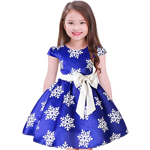 Image Unavailable. Image not available for. Color  ZHWZ Girls Christmas  Dress Kids Snowflake Dresses Girls Princess ... 66ee7aaf1657