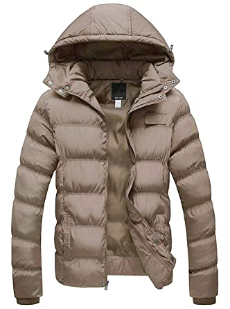 b80d576b2 SEFON Men's Winter Warm Thicken Cotton Coat Classic Short Puffer Jacket  with Removable Hood