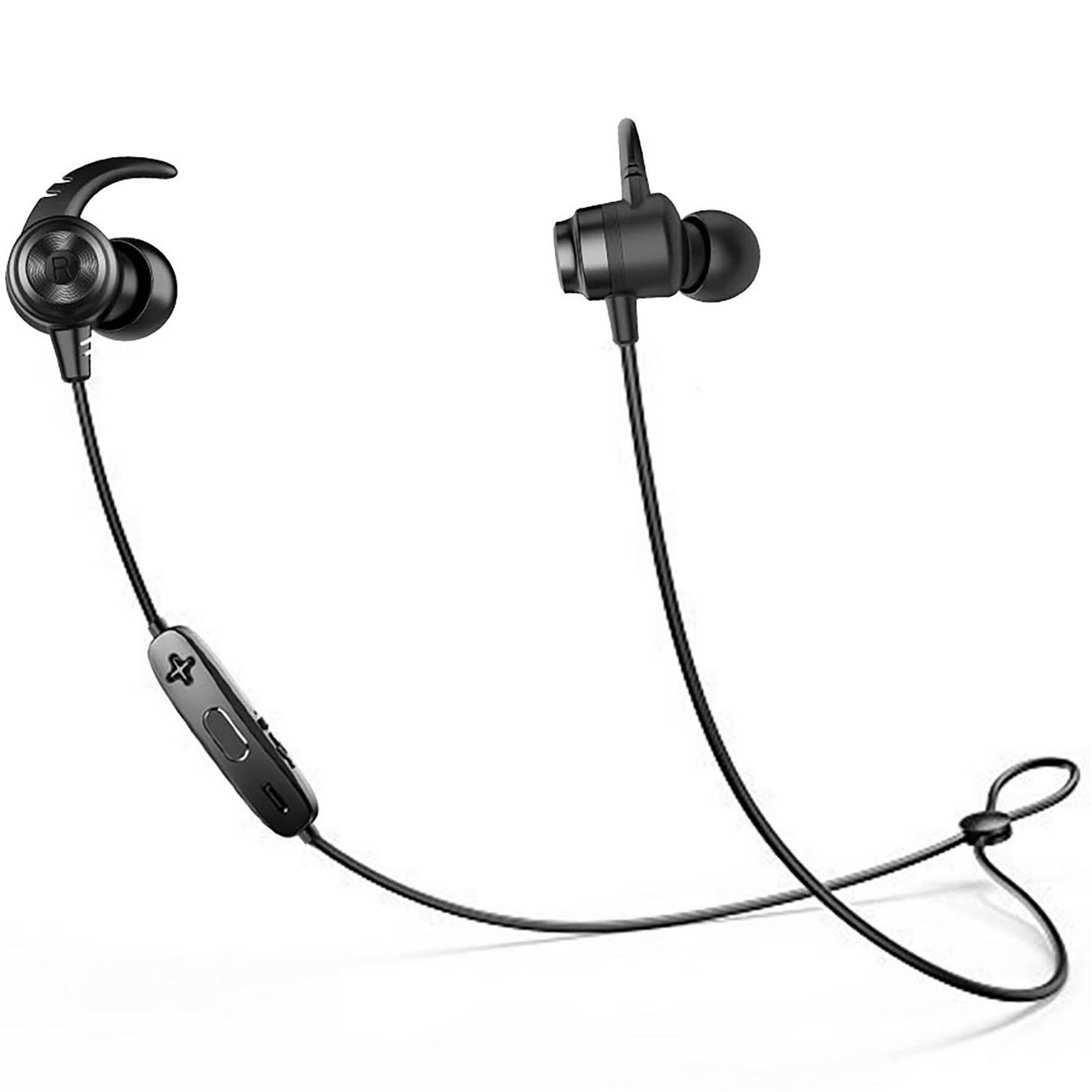 Wireless Headphones Bluetooth Earphone Sport In-Ear HD Stereo Sweatproof Magnetic Headphones with Mic for Running Sport, IPX5, Bluetooth 4.1, Support 2 Devices (black)
