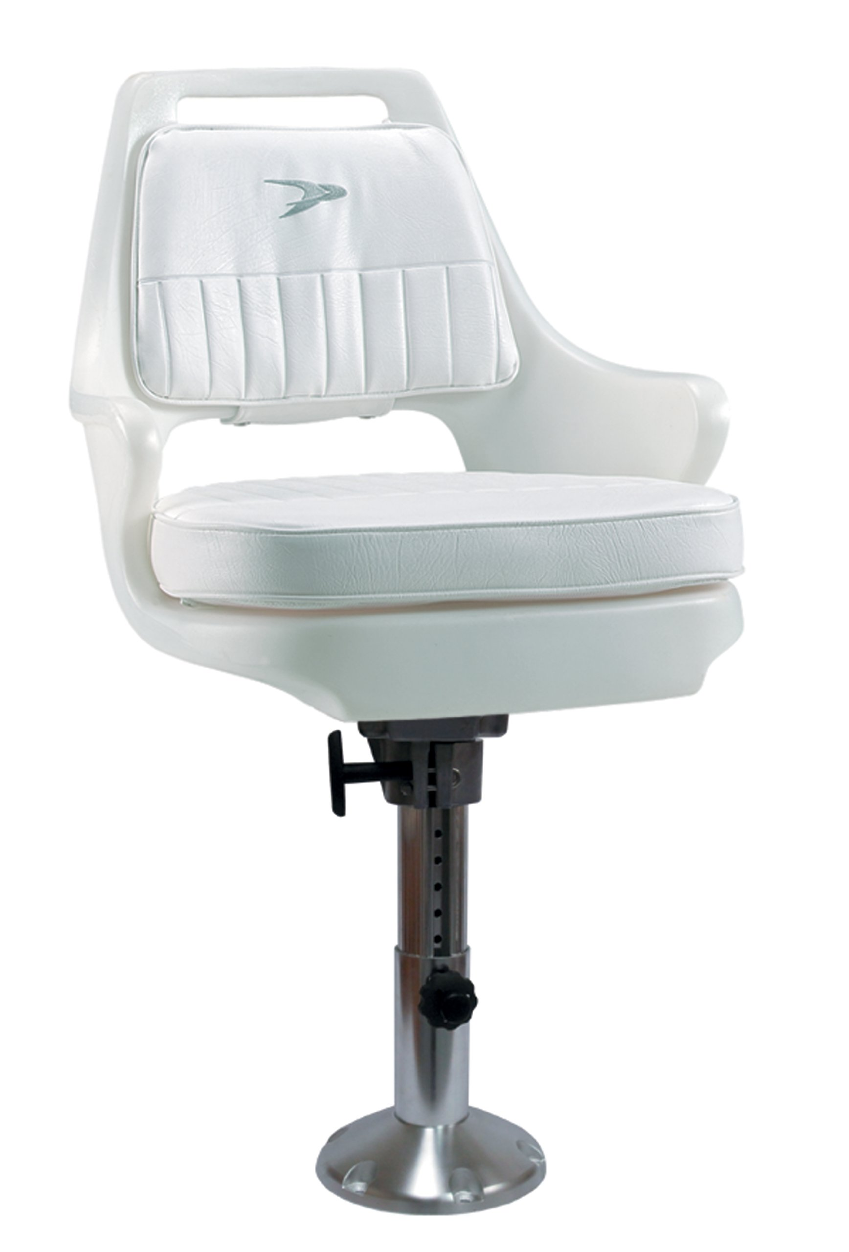 Wise 8WD015-7-710 Standard Pilot Chair with Cushions, 12-18'' Adjustable Height Pedestal and Seat Mount, White