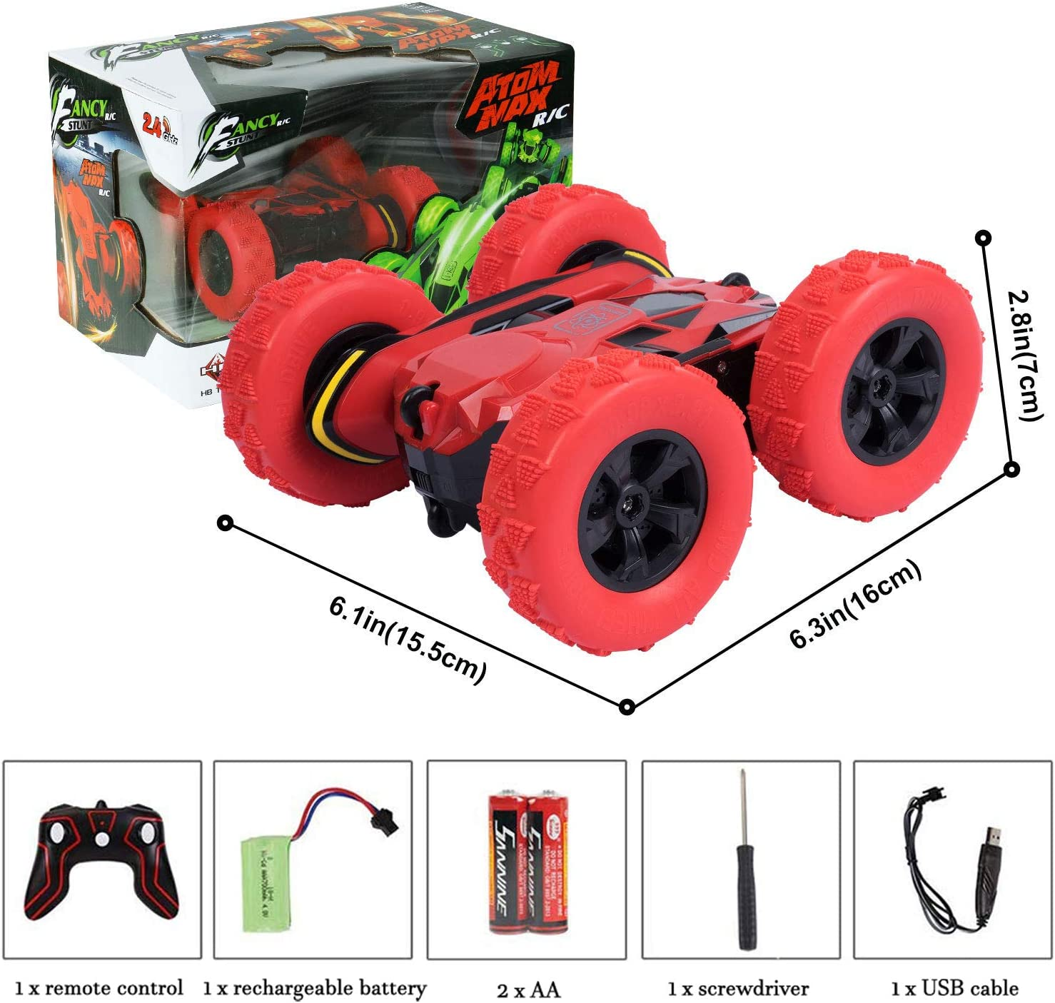 Blesser Remote Control Car 360/°Double Side Flips 4WD RC Stunt Car Rechargeable Offroad RC Car Toy for Age 6-10 Years Old Boy Kids Christmas Birthday Toys Gift