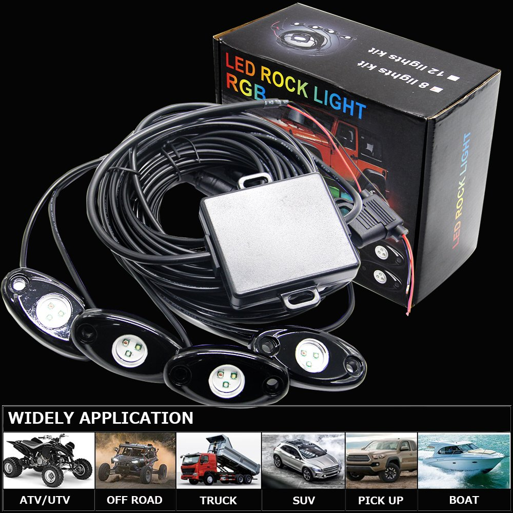 6pods RGB Led Rock Lights Kit with Bluetooth 14 DIY Color 15 Turning Modes Timing Music Mode Flashing Led Interior Light Led Neon Lights for Off Road Jeep Truck SUV UTV ATV Motorcycle 6 pods