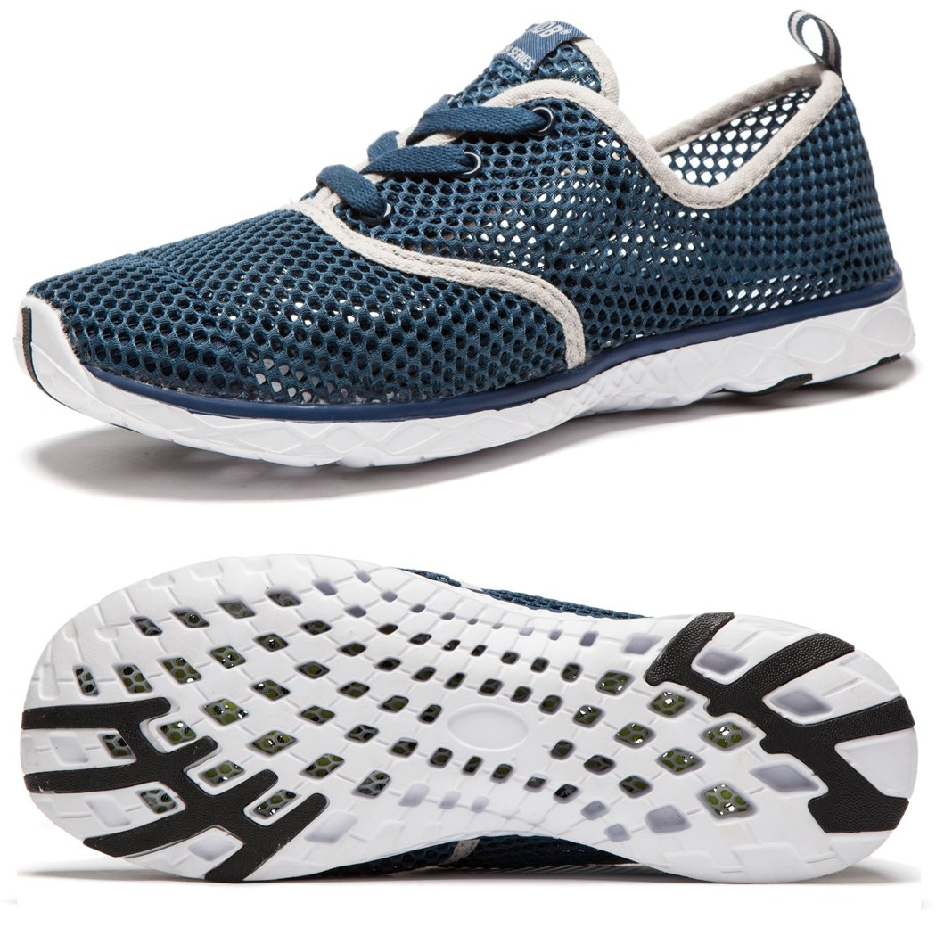 NeedBo NDB Men's Mesh Lace-up Quick Drying Aqua Water Shoes Breathable Lightweight Fashion Walking Shoes (12 D(M) US, Dark Blue)