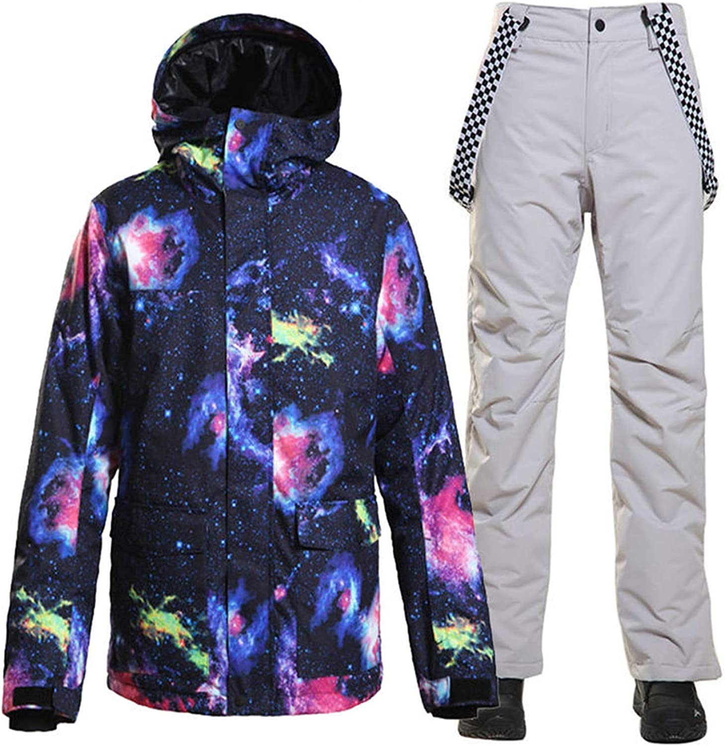 Mens Snow Suit Outdoor Sports wear Snowboarding Sets Waterproof Windproof Breathable Ski Jacket and Belt Snow Pant,Picture Jacket,S