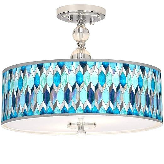 Amazon.com: Blue Tiffany-Style Giclee - Lámpara de techo ...