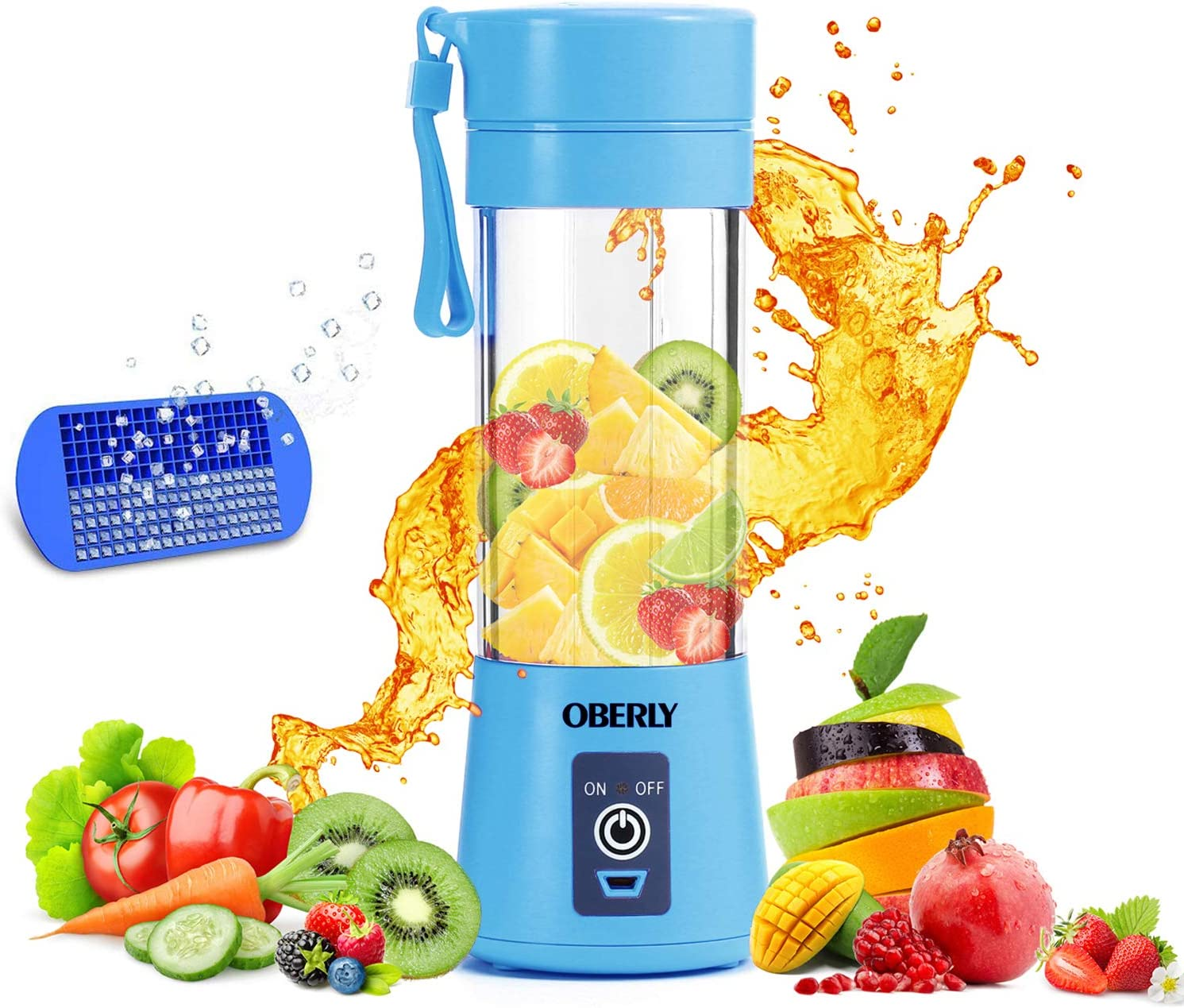 Portable Blender, OBERLY Smoothie Juicer Cup - Six Blades in 3D, 13oz Fruit Mixing Machine with 2000mAh USB Rechargeable Batteries, Ice Tray, Detachable Cup
