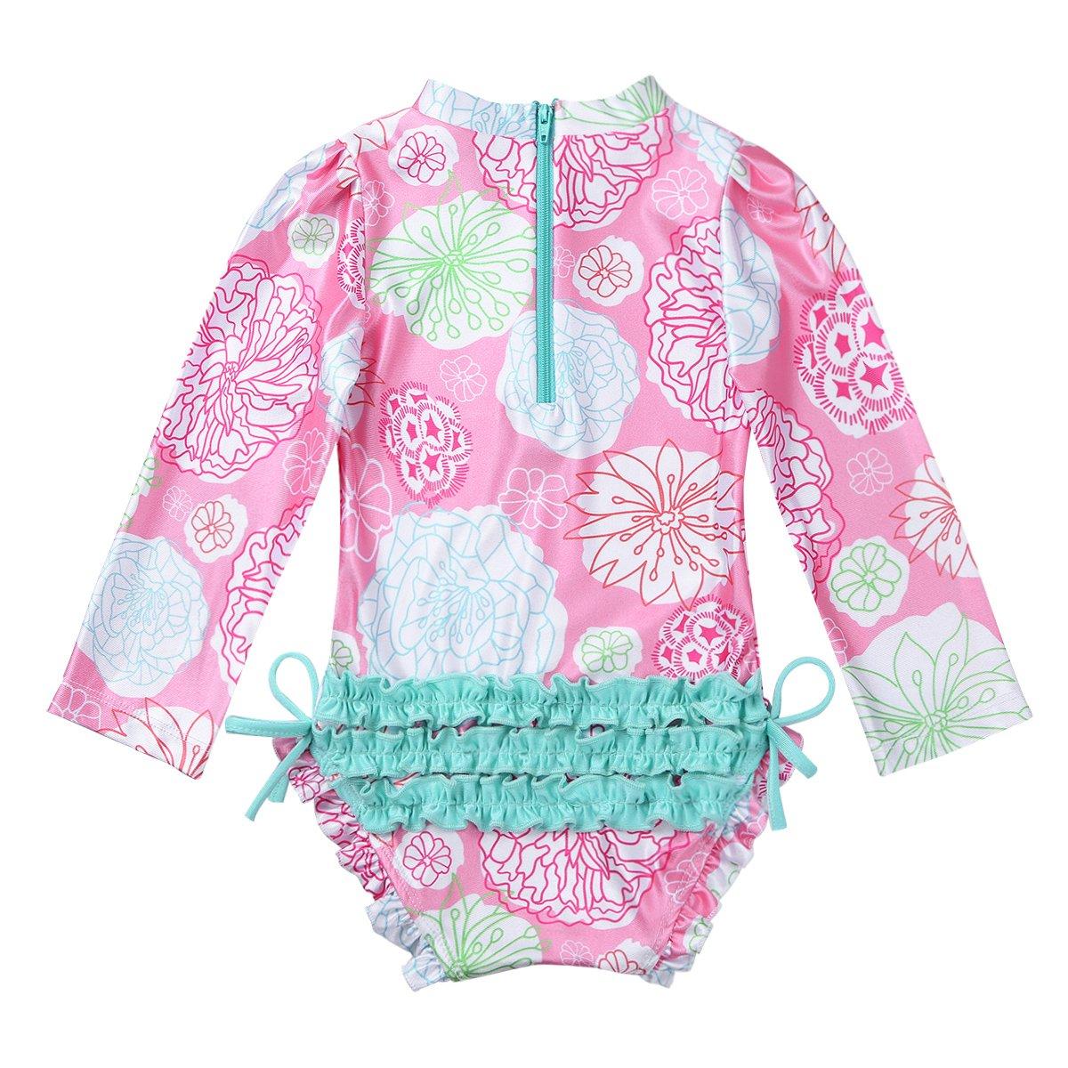 CHICTRY Toddler Little Girls One-Piece Ruffled Bottoms Flowers Long Sleeve Swimsuit Rash Guard Shirt