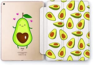 Wonder Wild Case Compatible with Apple iPad Avocado Heart Pro 9.7 11 inch Mini 1 2 3 4 Air 2 10.5 12.9 11 10.2 5th 6th Gen Hard Cover Cute Fruits Pattern Drawn Hearts Love Kawaii Tropical Food