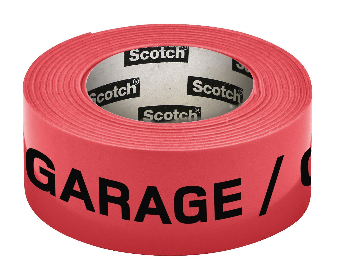 Scotch Ruban adhésif fluo préimprimé fluo Garage 30mm x 50m Rouge 3M 300157G