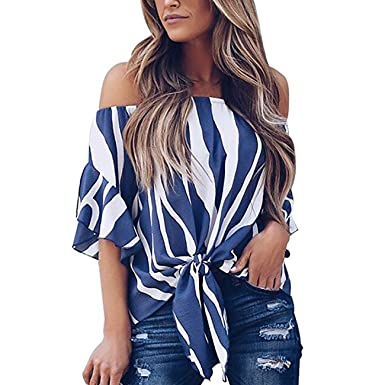 618a0b1aa2fc Yieune T-Shirt Damen Sommer Rückenfrei Shirt Kurzarm Schulter Tops Oberteile  Bluse(Blau s