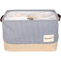 """DOKEHOM DKA0611G Large Storage Basket (Available 15"""", 17"""" and 22""""), Drawstring Square Cotton Linen Collapsible Toy Basket"""