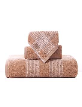 TOWEL Las Toallas Suaves Grandes absorbentes de la Toalla Rayada Jacquard Simple del algodón Tres-Pieza 34 * 36cm + 74 * 34cm + 140 * 72cm: Amazon.es: Hogar