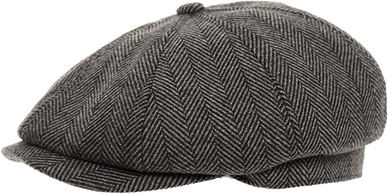 PEAKED PEAK 8 PIECE GREY HERRINGBONE 8-PANEL BAKER BOY NEWSBOY CAP