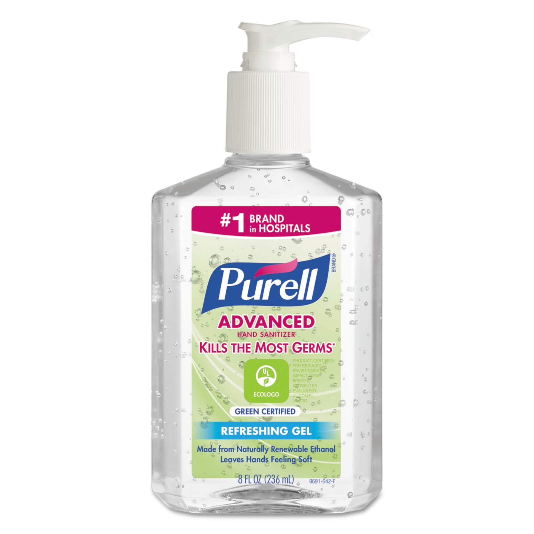PURELL Advanced Hand Sanitizer Green Certified Gel, Fragrance Free, 8 fl oz EcoLogo Certified Hand Sanitizer Table Top Pump Bottles (Case of 12) - 9691-12
