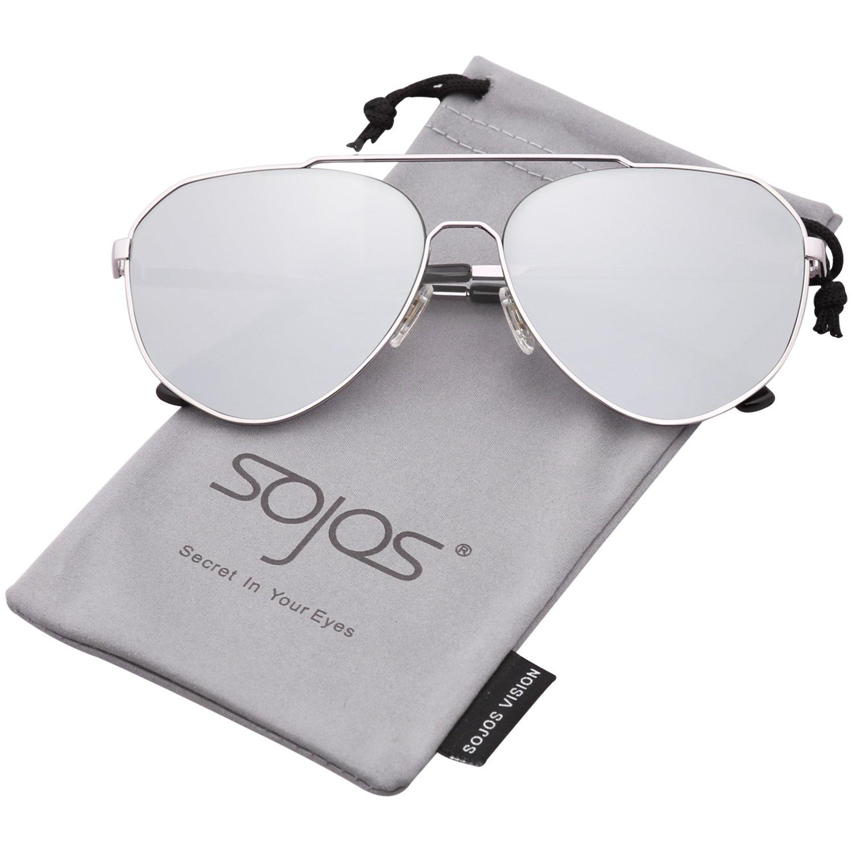 SOJOS Vogue Occhiali da Sole Uomo e Donna Oversized Vintage Retro Specchiati Moda Nuovo Unisex SJ1083 SJ1083C1
