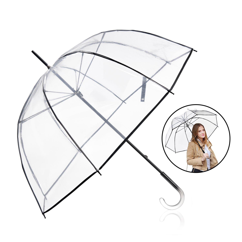 Rainbrace Clear Umbrella Big Arc 52'' Transparent Clear Bubble Umbrella for Adult by Rainbrace
