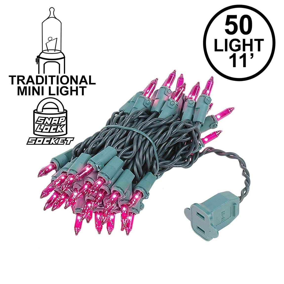 Novelty Lights 50 Light Amber Christmas Mini String Light Set Indoor//Outdoor UL Listed Green Wire 11 Long
