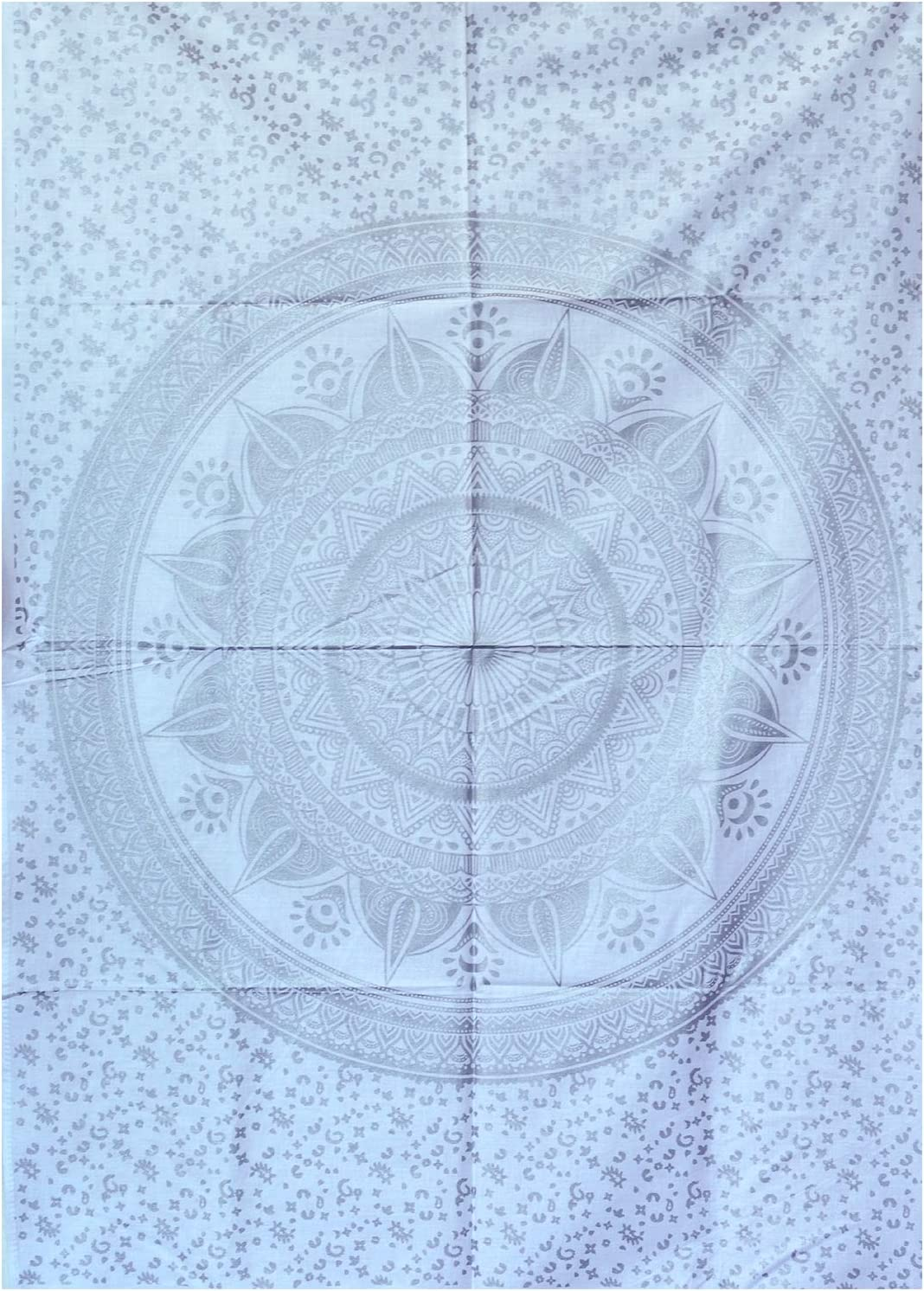 Glittering Silver Grey Tapestry Wall Hanging Mandala-Bohemian Room Decor-Indian Cotton Throw Hippie Tapestries -Boho Bedding White Bedspread 102x76 cms-Meditation Yoga Mat Rugs for Mother's day gift