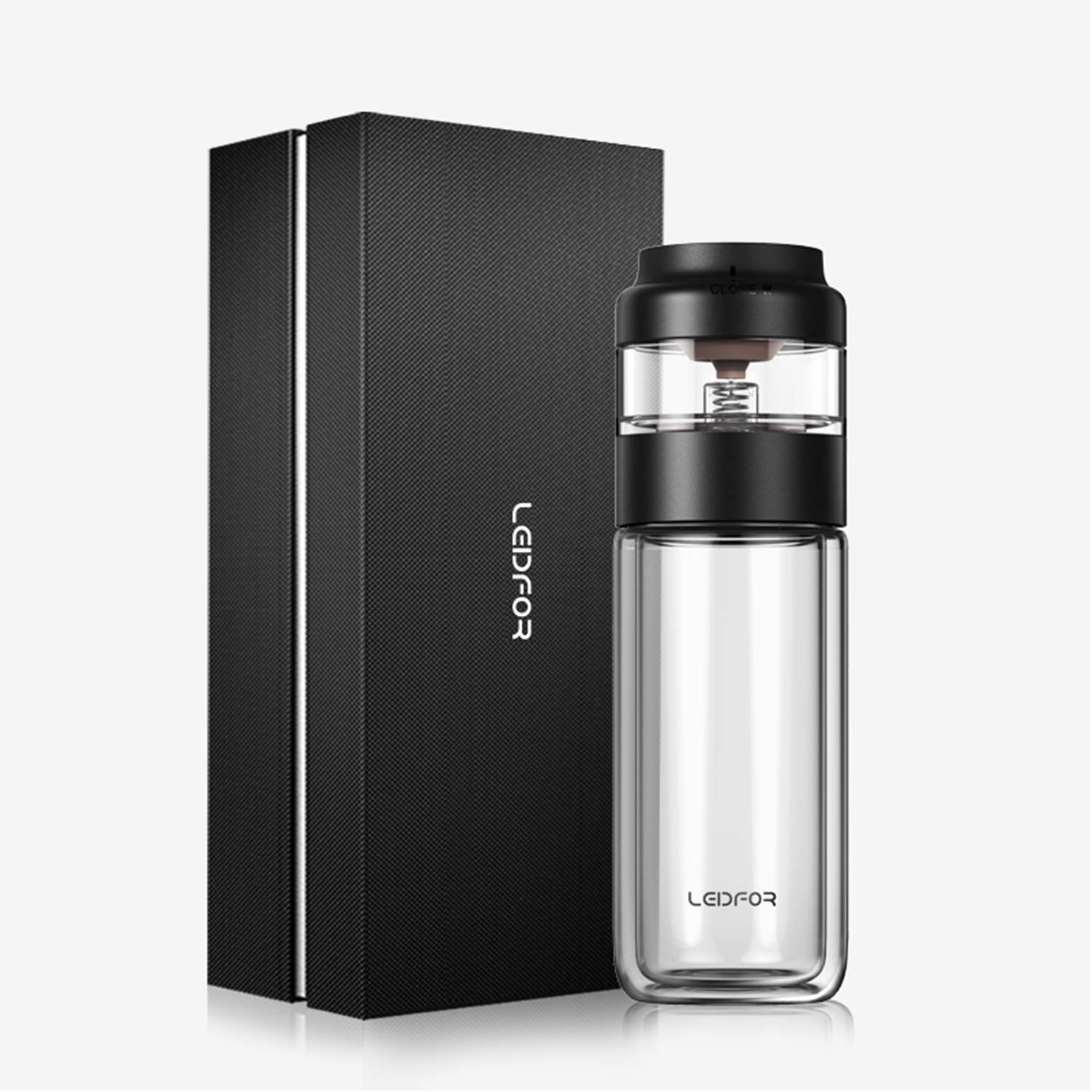 LEIDFOR Glass Tea Tumbler with Leaf-Tea Separation Infuser, Double Wall Glass Travel Tea Mug, Leakproof Tea Bottle with Strainer BPA Free Black 8 Ounce