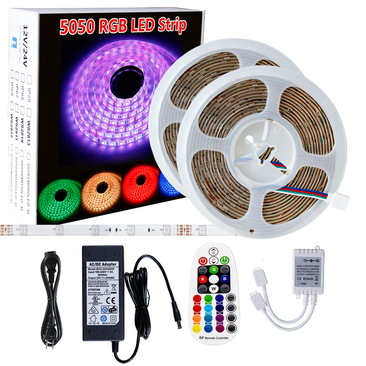 300leds 60leds//m Flexible Color Changing RGB 12V SMD5050 LED Tape Light Kit with RF Remote and Power Supply SPARKE LED Strip Lights Non-Waterproof 16.4 Ft 5M
