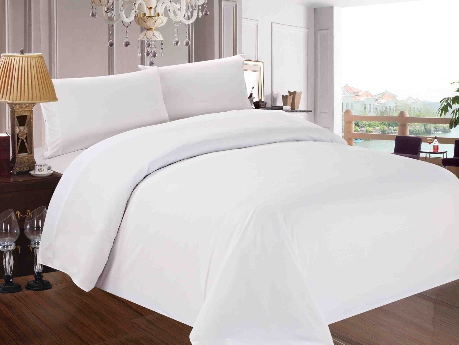 Thread Treasure Premium 1500 Thread Count 100% Egyptian Cotton Ultra Soft 4 Piece Bed Sheet Set Hotel Quality 1500TC Fits Mattress Upto 15'' Deep Pocket (Queen, White)