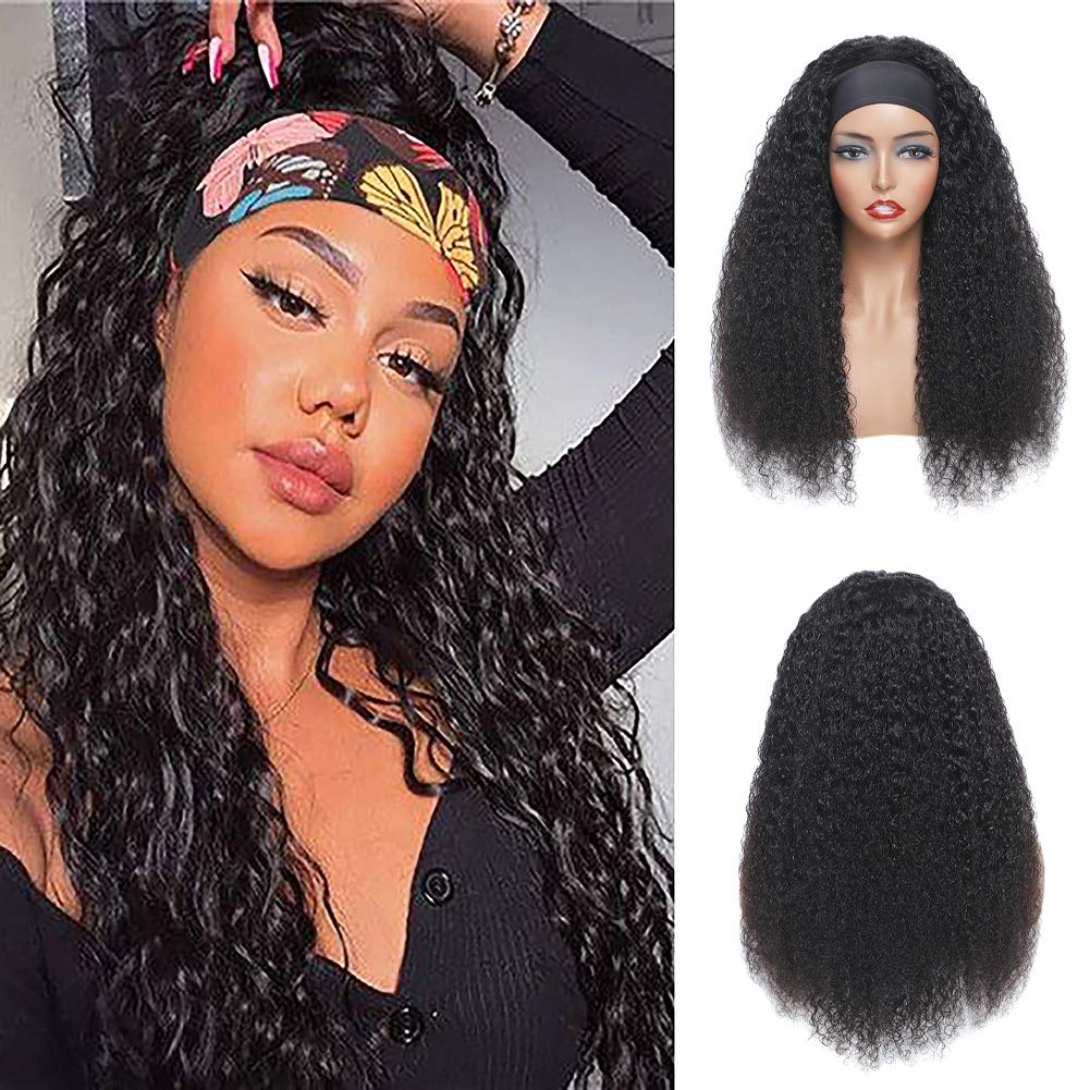 Kinky Curly Credence Headband Wig Glueless Non Lace Front Human Wigs Brand new Hair