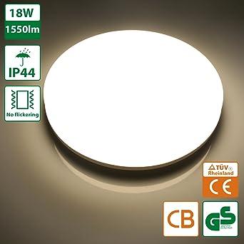 Oeegoo® LED Deckenlampe Bad, 18W 1550lm Ersetzt 100W Glühbirne, IP44 ...