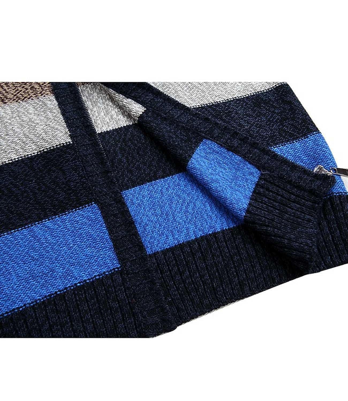 Nidicus Men Contrast Wool Full Zip Sweater Stand Collar Thick Warm Cardigan