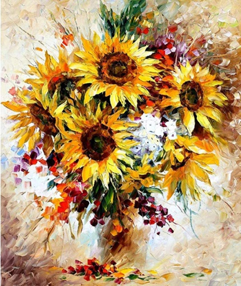 Framed Canvas DIY Oil Painting Kit for Kids Beginner Shukqueen DIY Paint by Numbers for Adults Colorful Flower 16X20 Inch