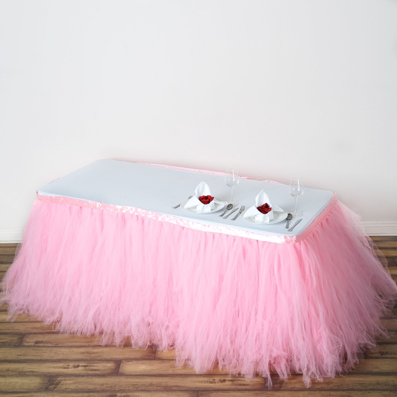 Tableclothsfactory 21ft FULL SIZE 8 Layer Fluffy Tulle - Tutu Table Skirt - Rose Quartz Pink by Tableclothsfactory (Image #2)