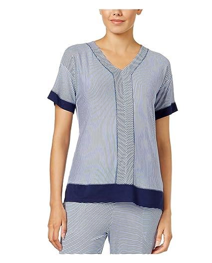 f0080b29dc263f DKNY Womens Contrast-Trimmed Striped Pajama Top/Nightshirt Blue M at ...