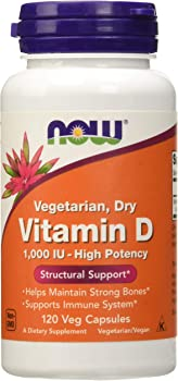 120-Count NOW Supplements Vitamin D 1000 IU Veg Capsules