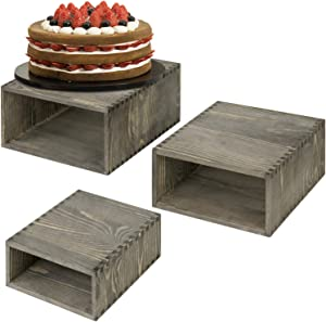 MyGift Vintage Gray Solid Wooden Nesting Cake Stand Storage Display Riser Crate Boxes for Commercial Merchandise & Buffet Tables, Set of 3