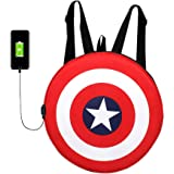 SWAGG Avengers Captain America Shield Polyester Backpack Bag with USB Port, Casual College School Gym Hiking Men Women Unisex