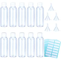 Aneco 10 Pack 100 ml Clear Plastic Travel Bottle Empty Transparent Containers Bottles with 5pcs Funnels and 4 Sheets Free Labels
