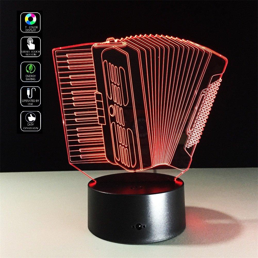 Deerbird® Strumenti musicali di fisarmonica Illuminazione 3D LED Lampada tavolo telecomando Luce notturna con 7 Colore variabile per ragazze Ragazzi Regalo Domestico Scrivania Accessori (USB o batterie 3-AA alimentate)