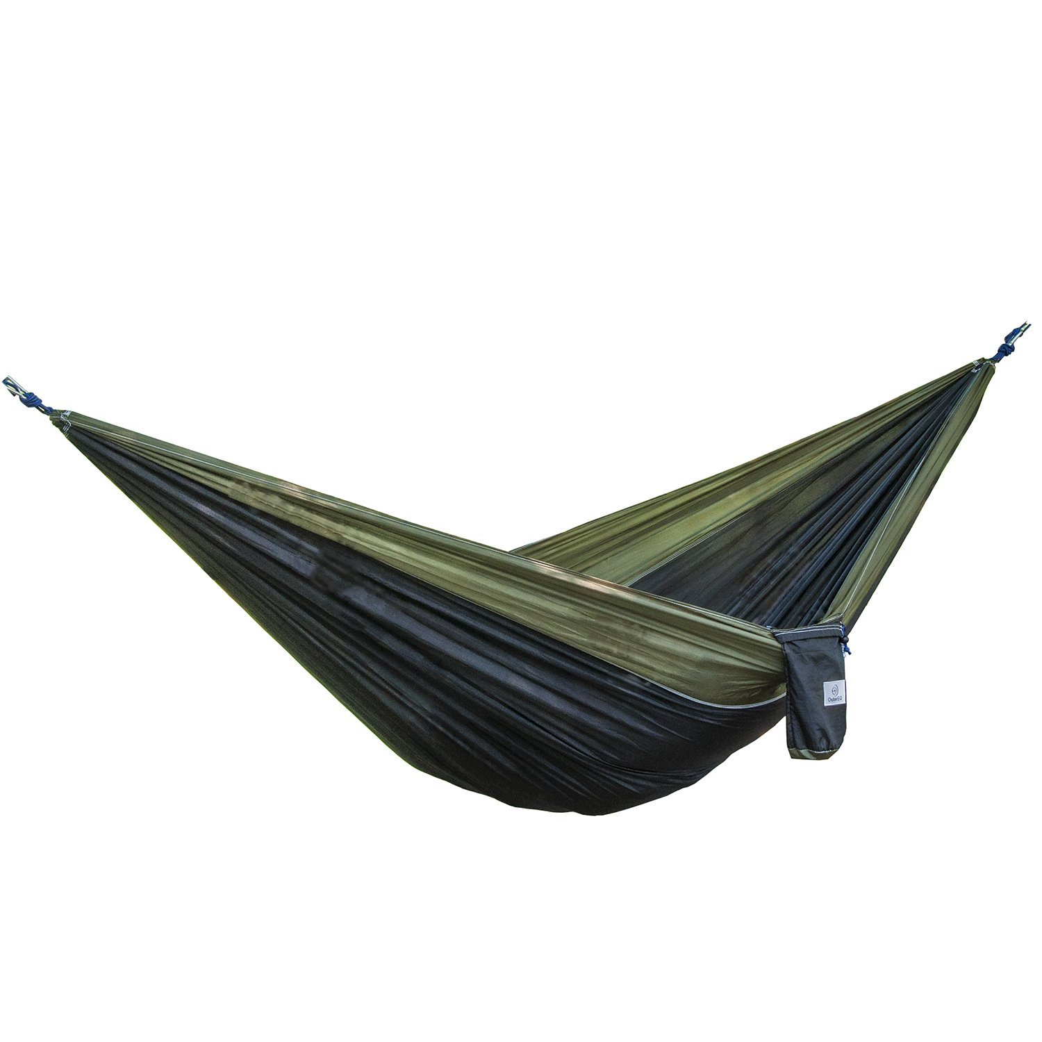 OuterEQ Portable Parachute Camping Hammocks Lightweight Nylon Fabric Travel Hammock (Olive/Black, 295cm x 198cm/Double) by OuterEQ