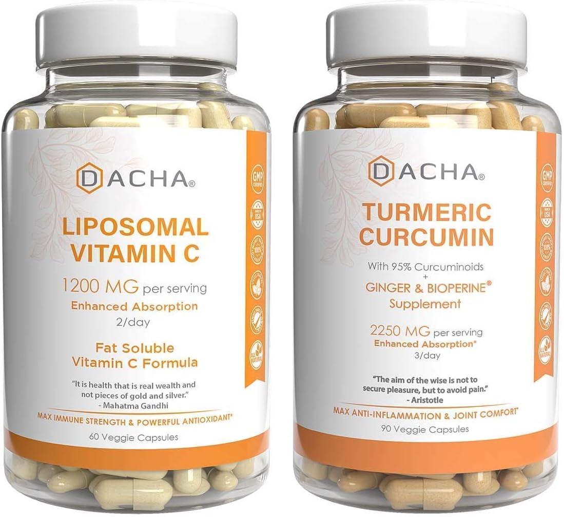 Ultimate Immune Support Health Bundle - Liposomal Vitamin C & Turmeric, Antioxidant, Anti Inflammatory Packed, Plus Ginger, 95% Curcuminoids, Detox Natural Herbs, Triple Strength Joint Support