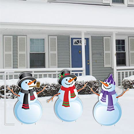 Christmas Snowmen Decorations.Victorystore Yard Sign Outdoor Lawn Decorations Christmas Snowmen Stand Up Yard Decorations Includes 6 Short Stakes