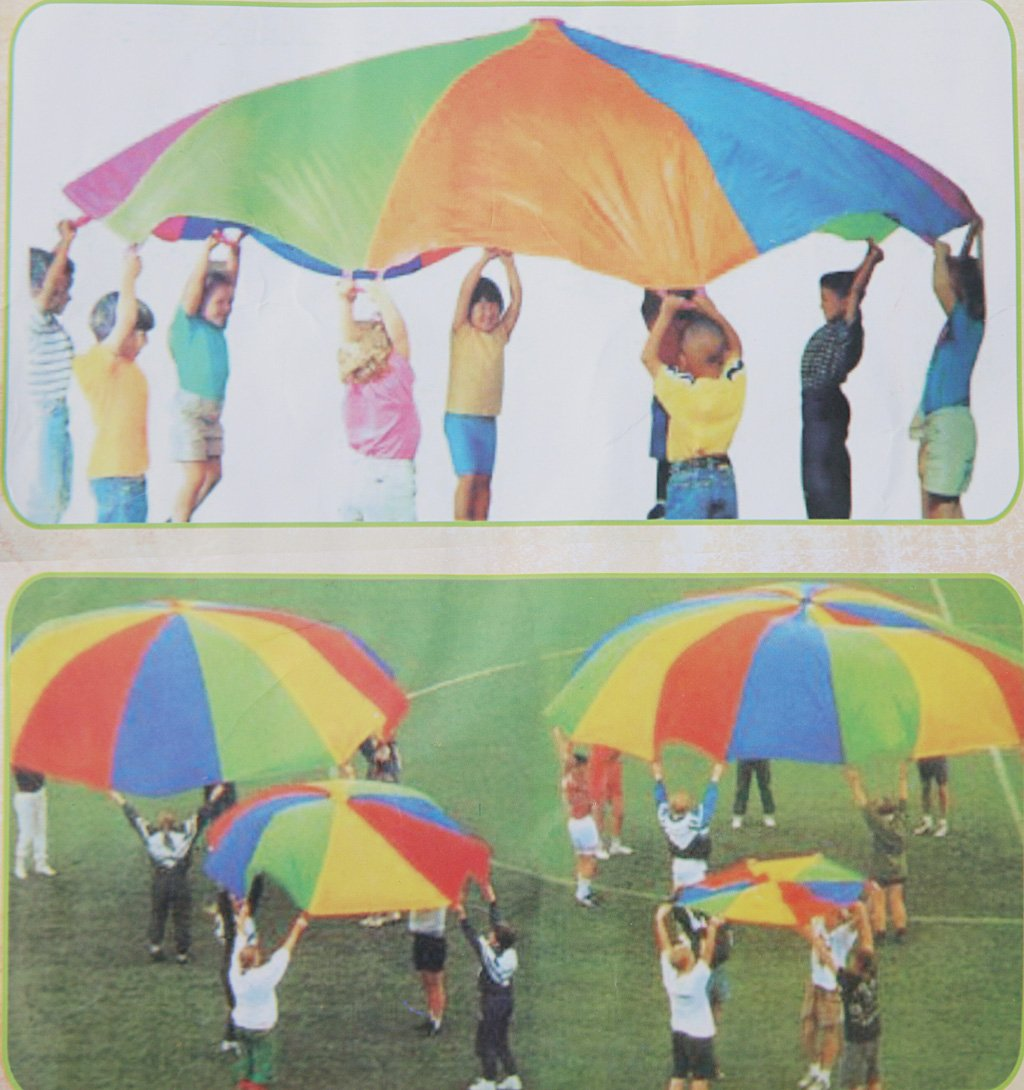 10ft Kids Play Rainbow Parachute 8 Handles Outdoor Game Exercise Sport Toy Generic