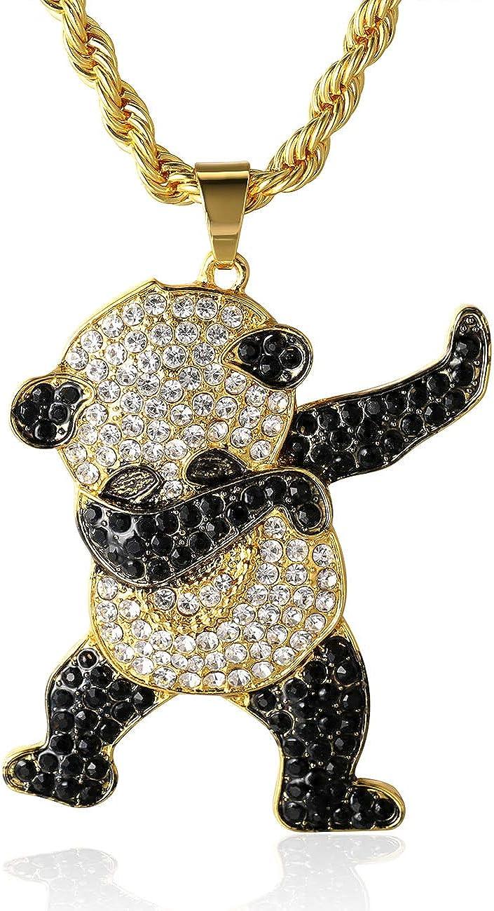 Halukakah Cadena de Oro Hombres Iced out,Chapado en Oro Real de 18k/Platino Plateado en Oro Blanco Panda Colgante Collar,Cz Completo Diamante Prong Set,con Cadena de Cuerda 60cm/Cadena Tenis 50cm