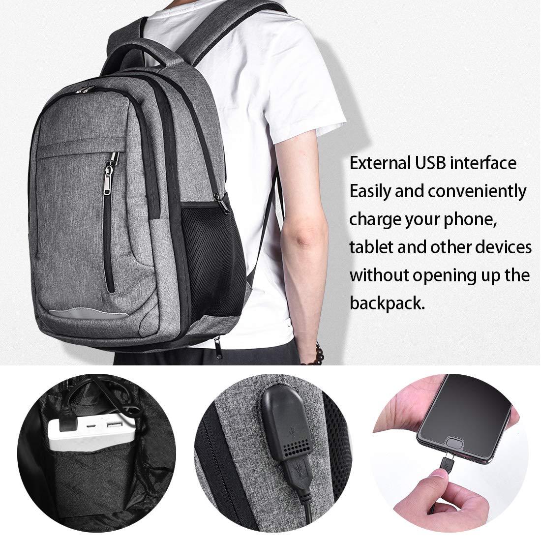 428468669291 Laptop Rucksack 15.6 Notebook Rucksack Wasserdicht Usb Ladeanschluss  Business Backpack Damen Herren Arbeit Schule Universität Daypack Grau   Amazon.de  ...
