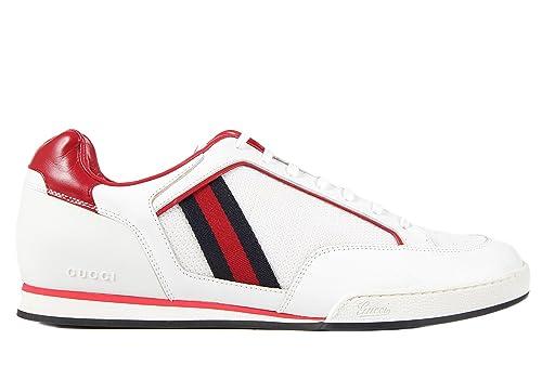 Gucci scarpe sneakers uomo in pelle nuove bianco  Amazon.it  Scarpe e borse 16e60729b65